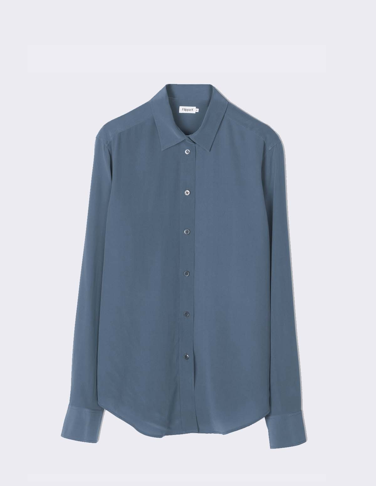 Classic Silk Shirt - BLUE GREY