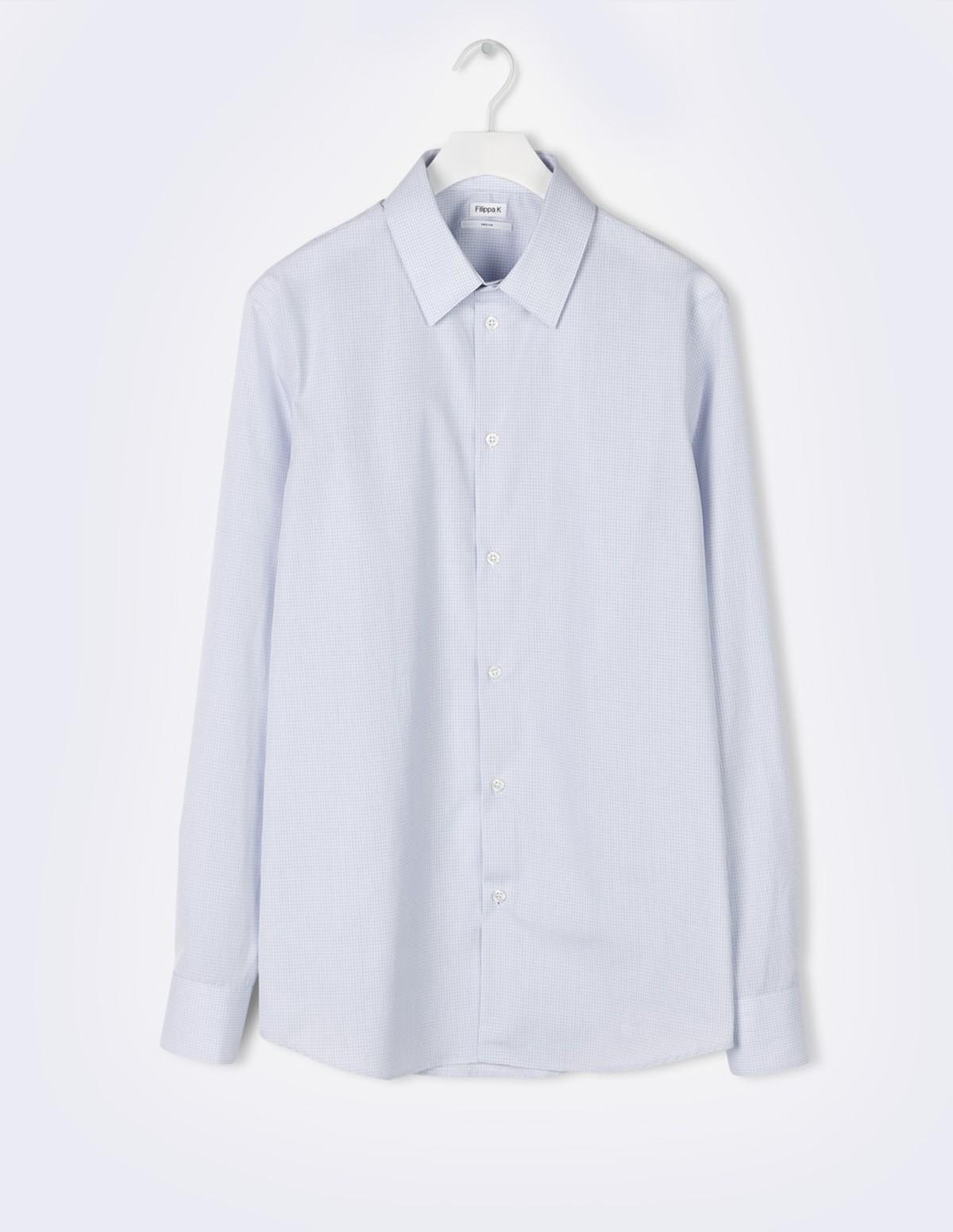 M. James Check Shirt - BLUE/WHITE