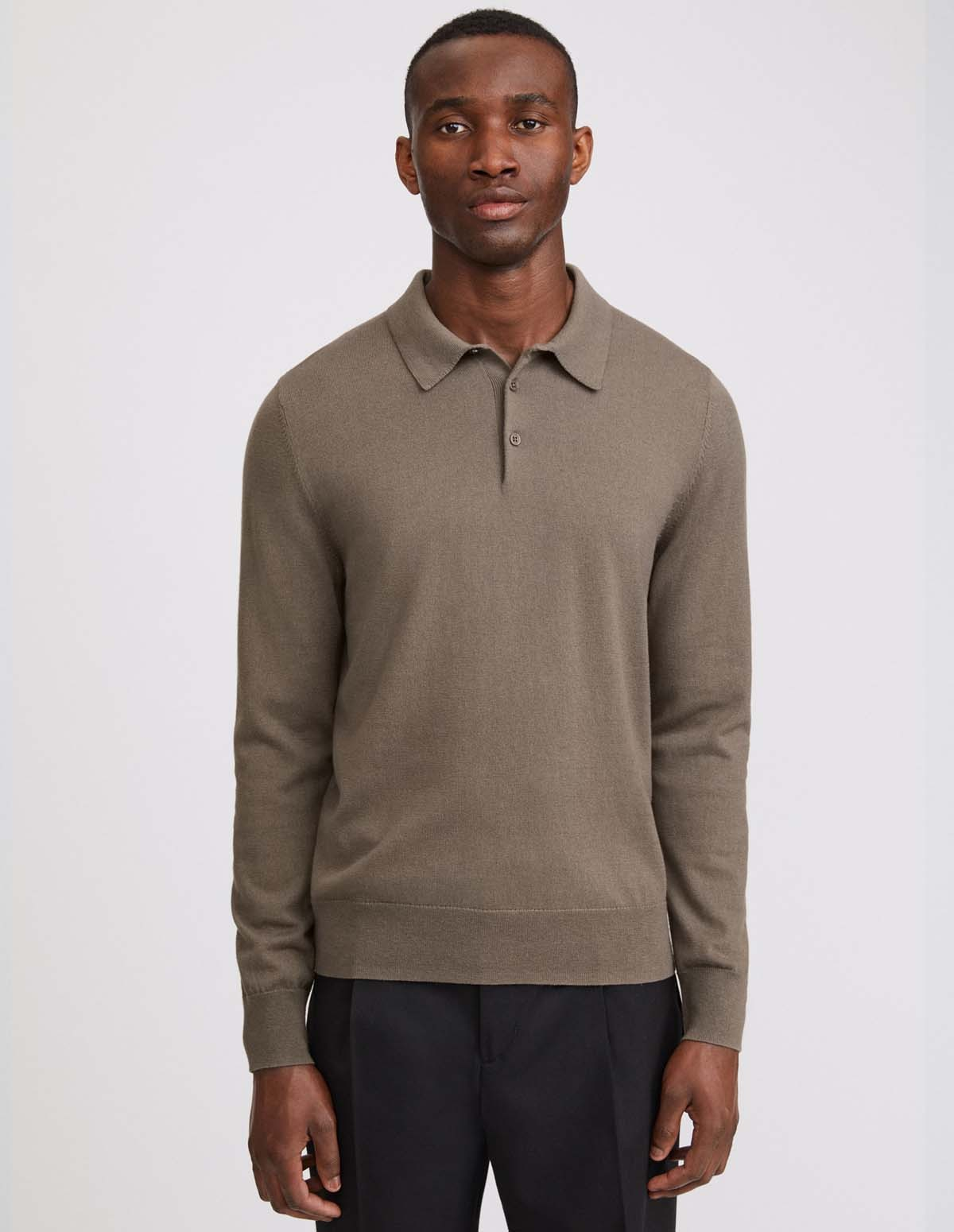 Fk M Knitted Polo Shirt - DARK TAUPE