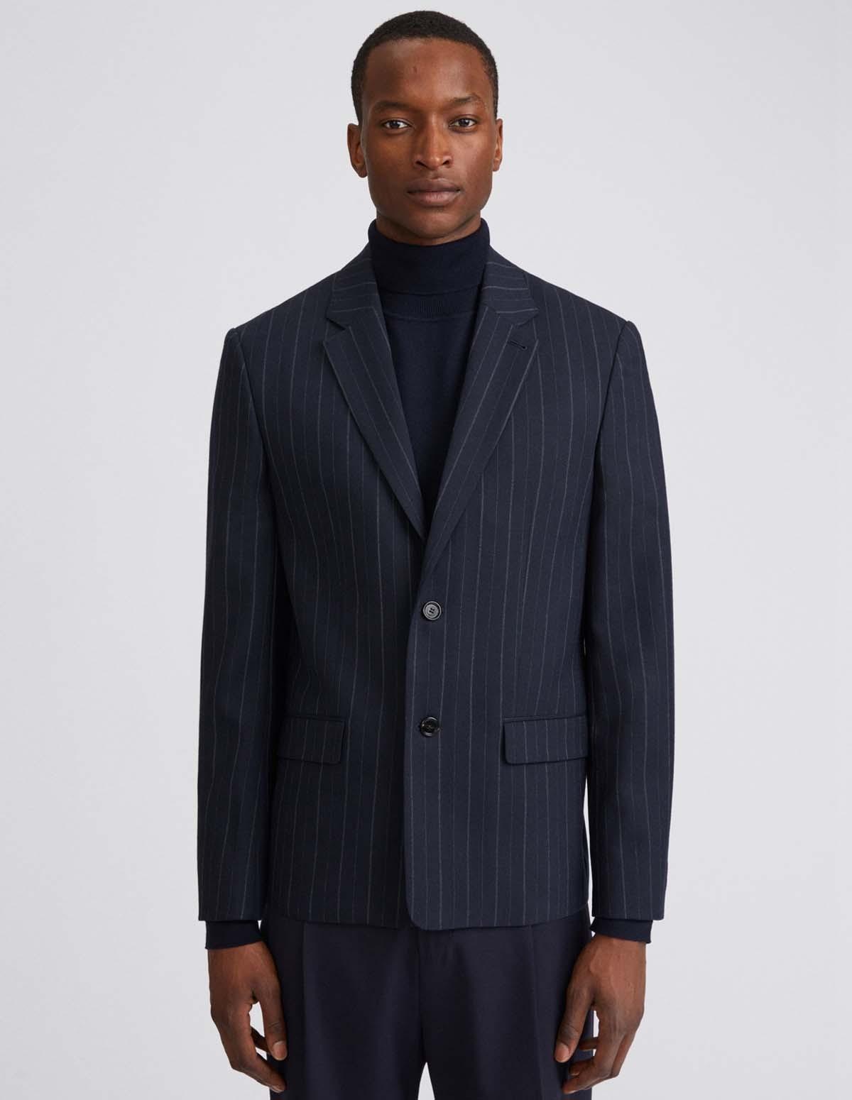 Fk M Harrison Striped Blazer - NAVY STRIP