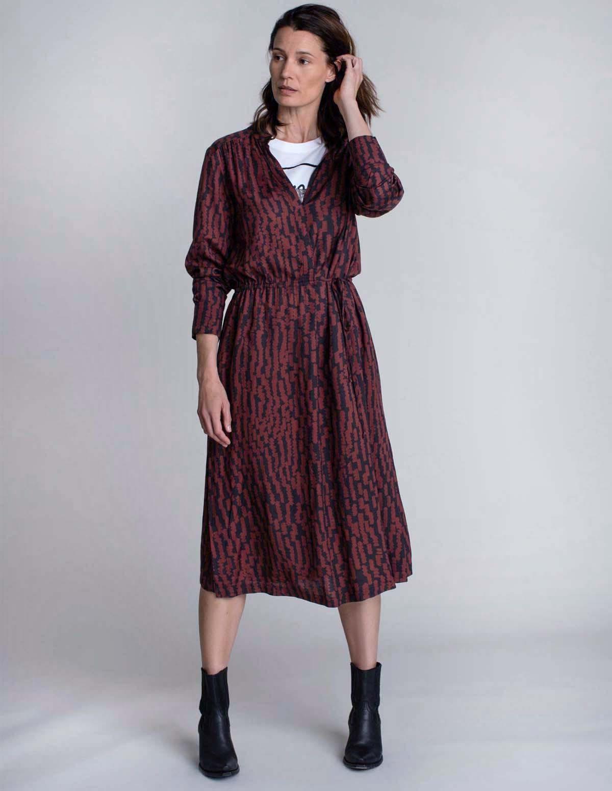 Huma Davina Dress - MAROON