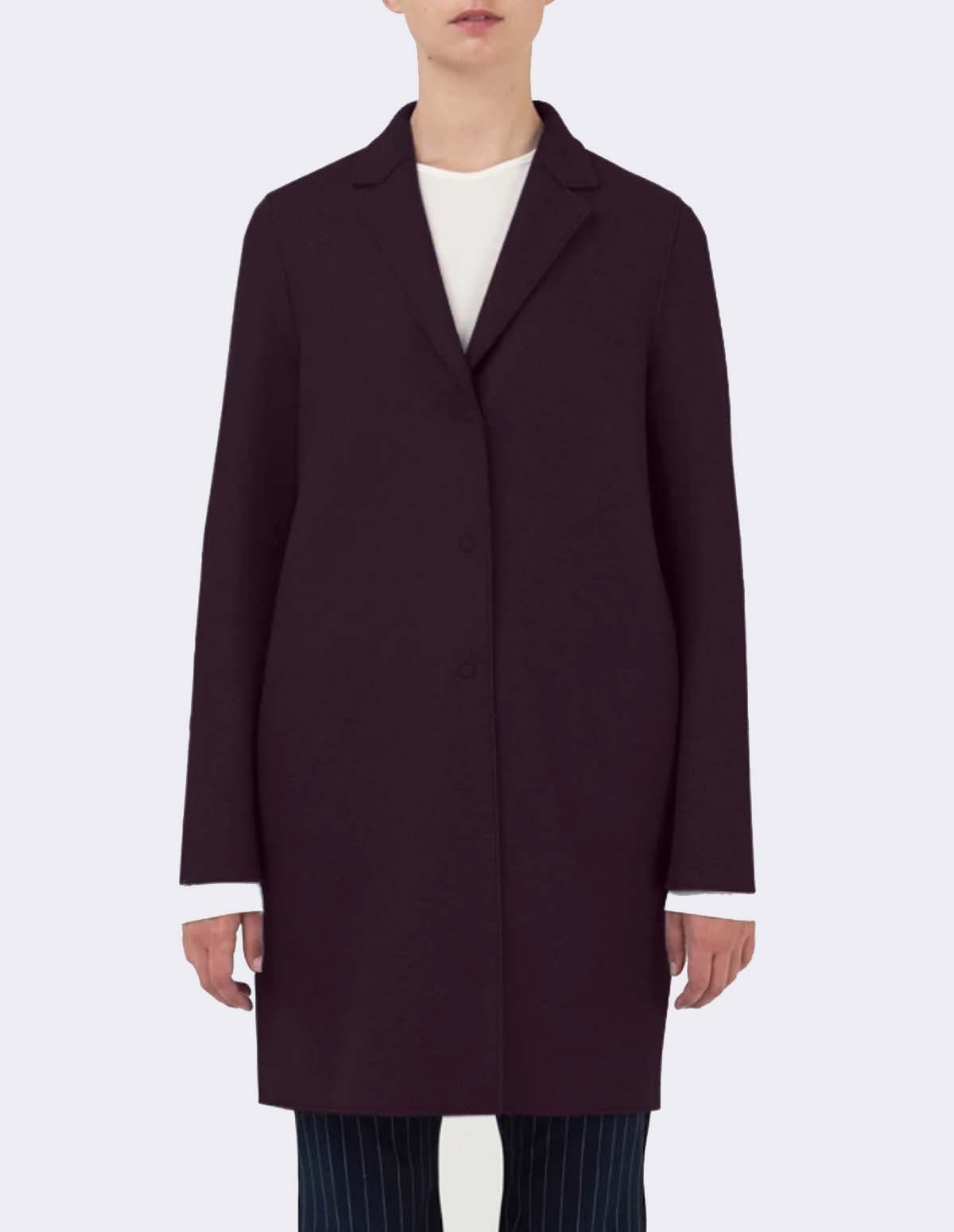 Women Cocoon Coat Pressed Wool - BORDEAUX