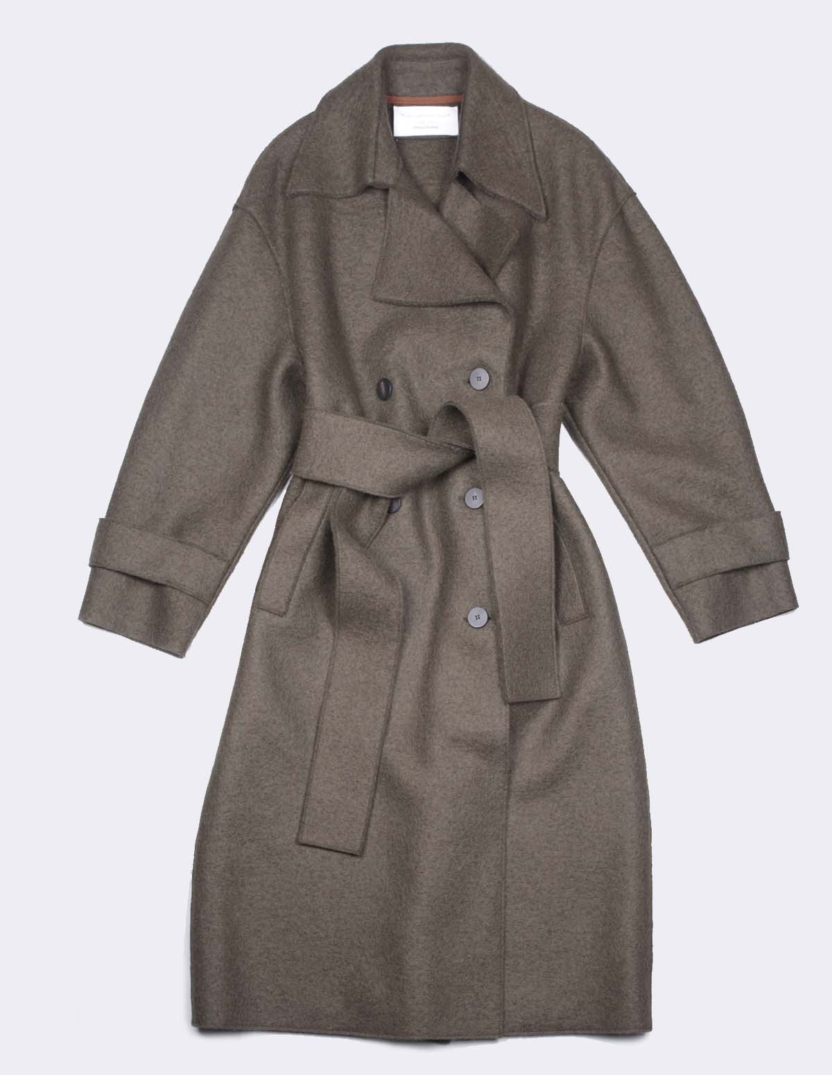 Hwl Oversized Trench Coat - MOSS GREEN