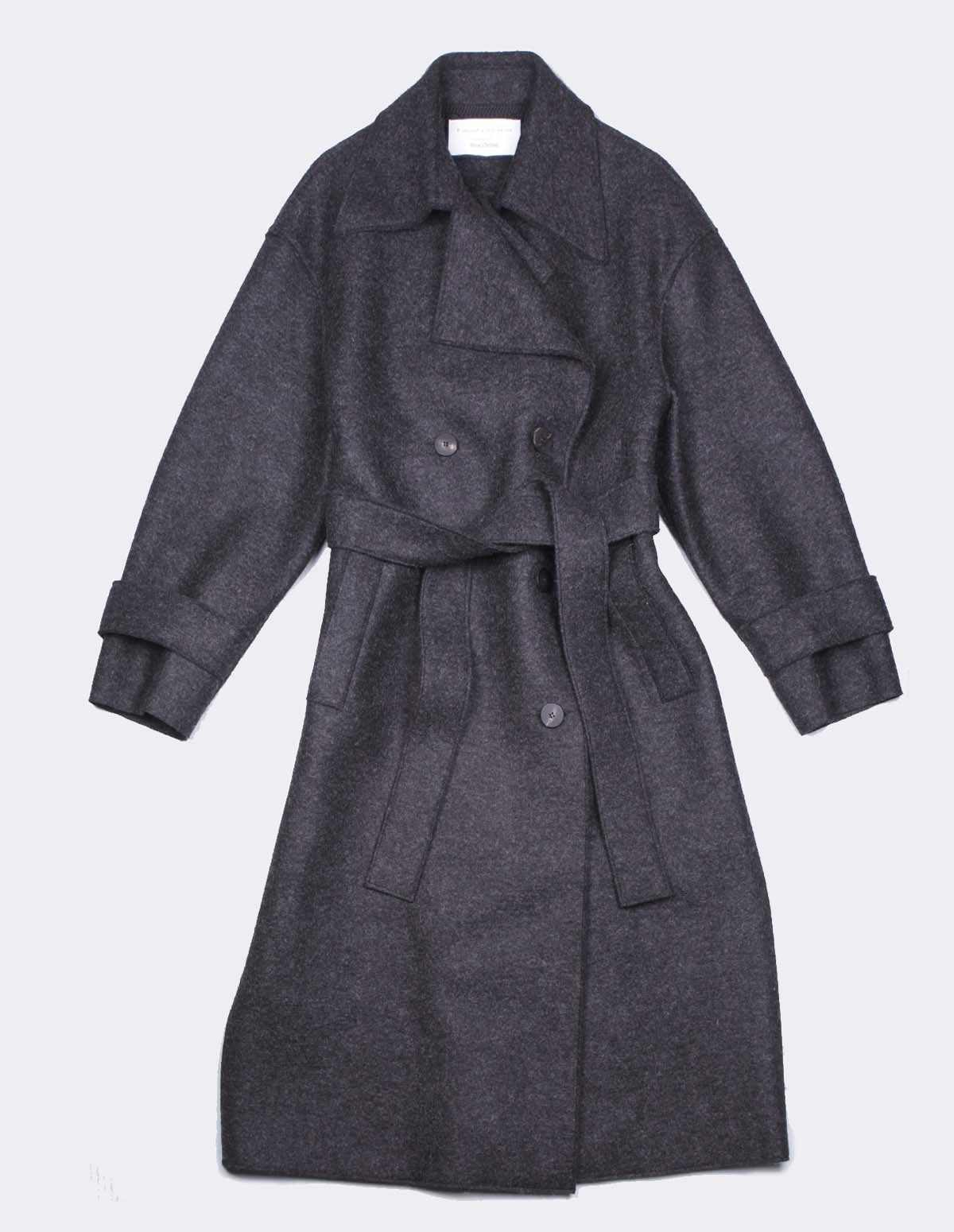 Hwl Oversized Trench Coat - ANTHRACITE