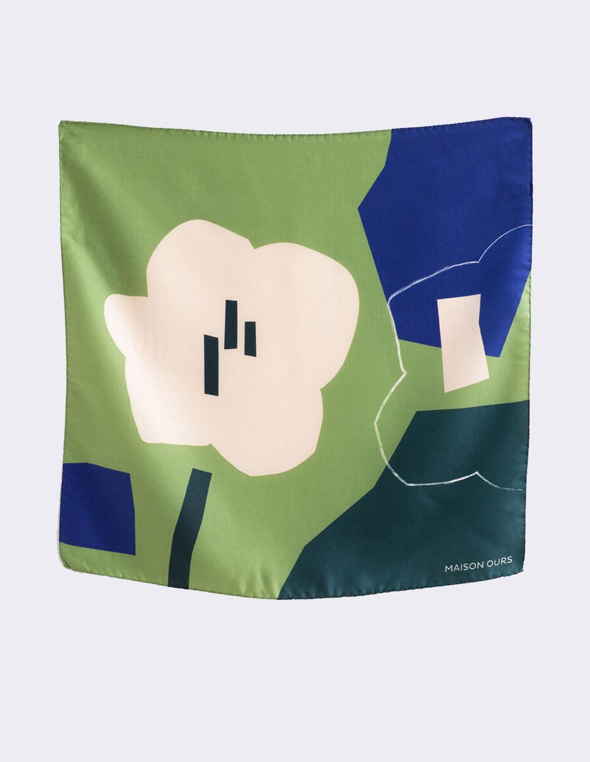 Maison Ours Fleur 50x50 - VERT