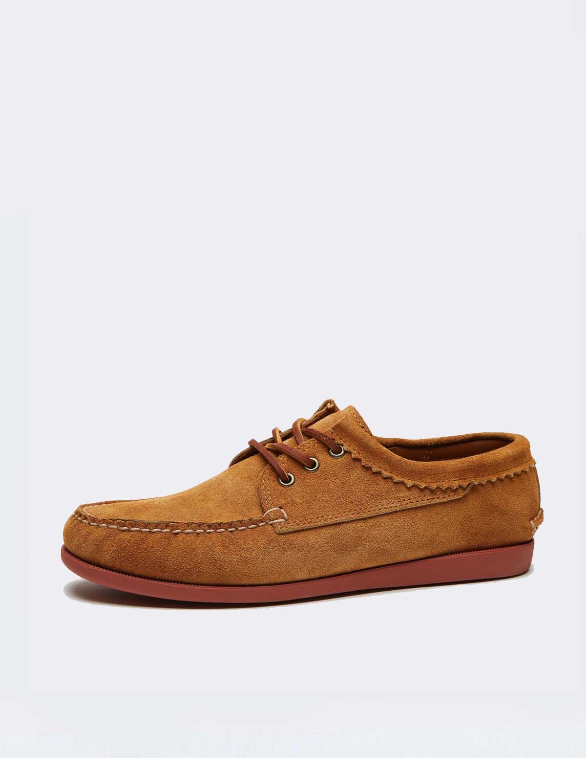Quoddy Blutcher Suede - TOAST / BRICK SOLE