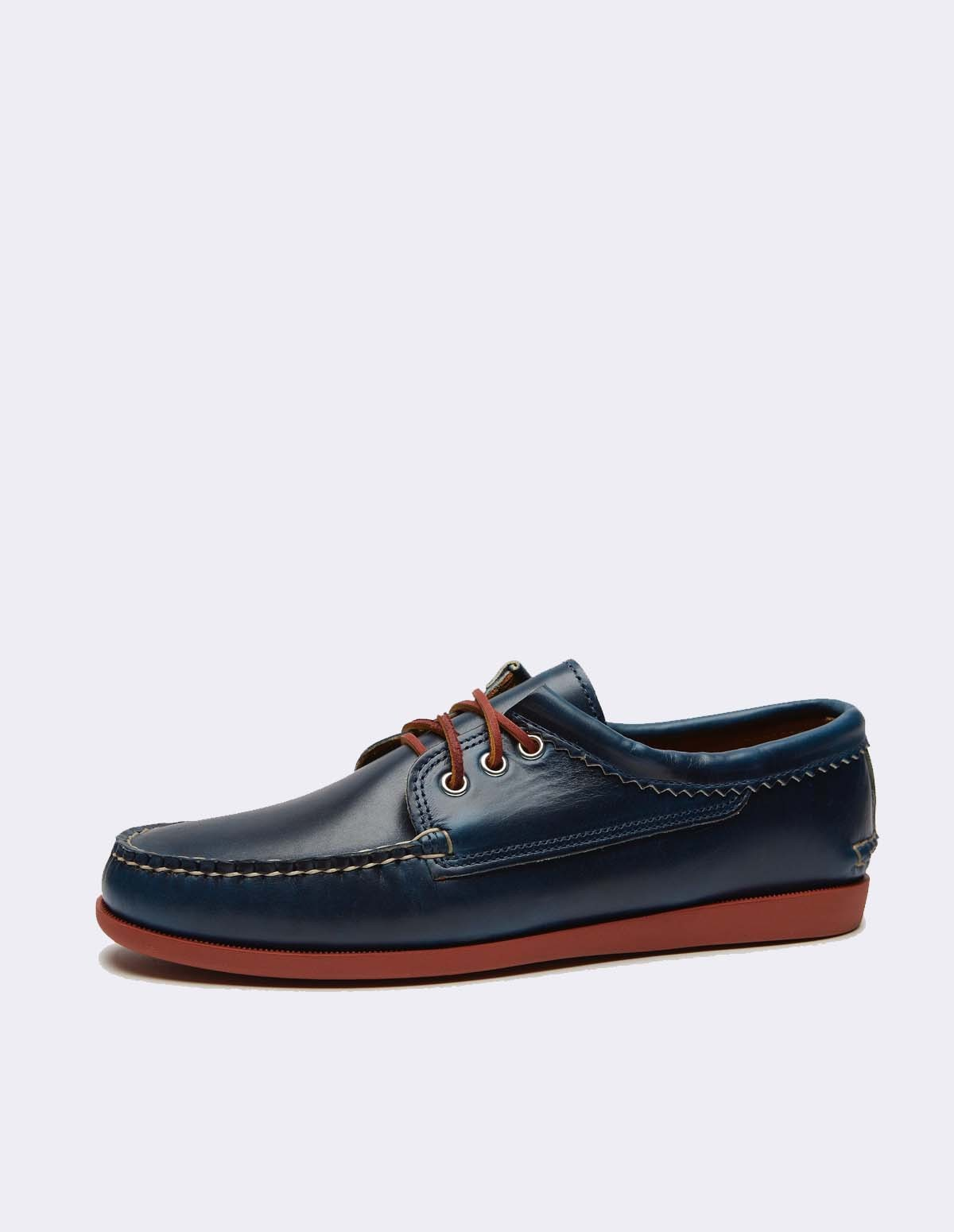 Quoddy Blutcher Leather - NAVY / BRICK SOLE