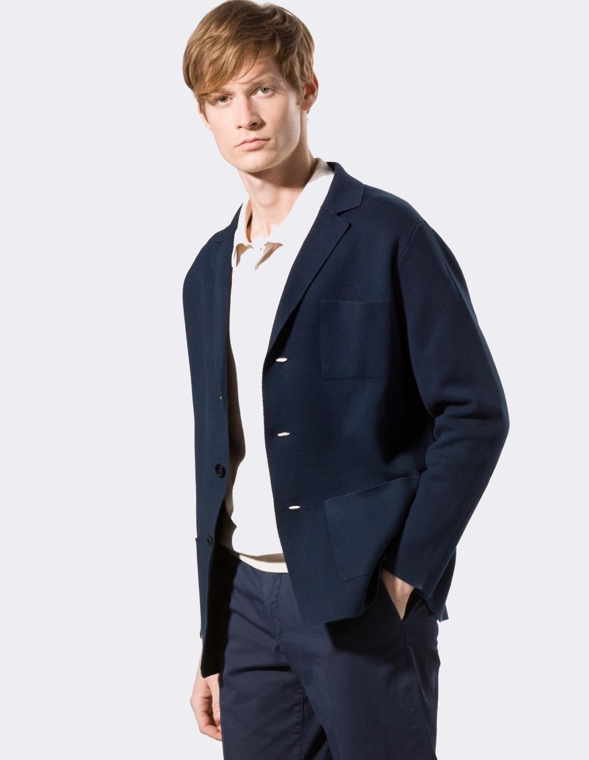 Boglioli Knitted Jacket - 0780  NAVY