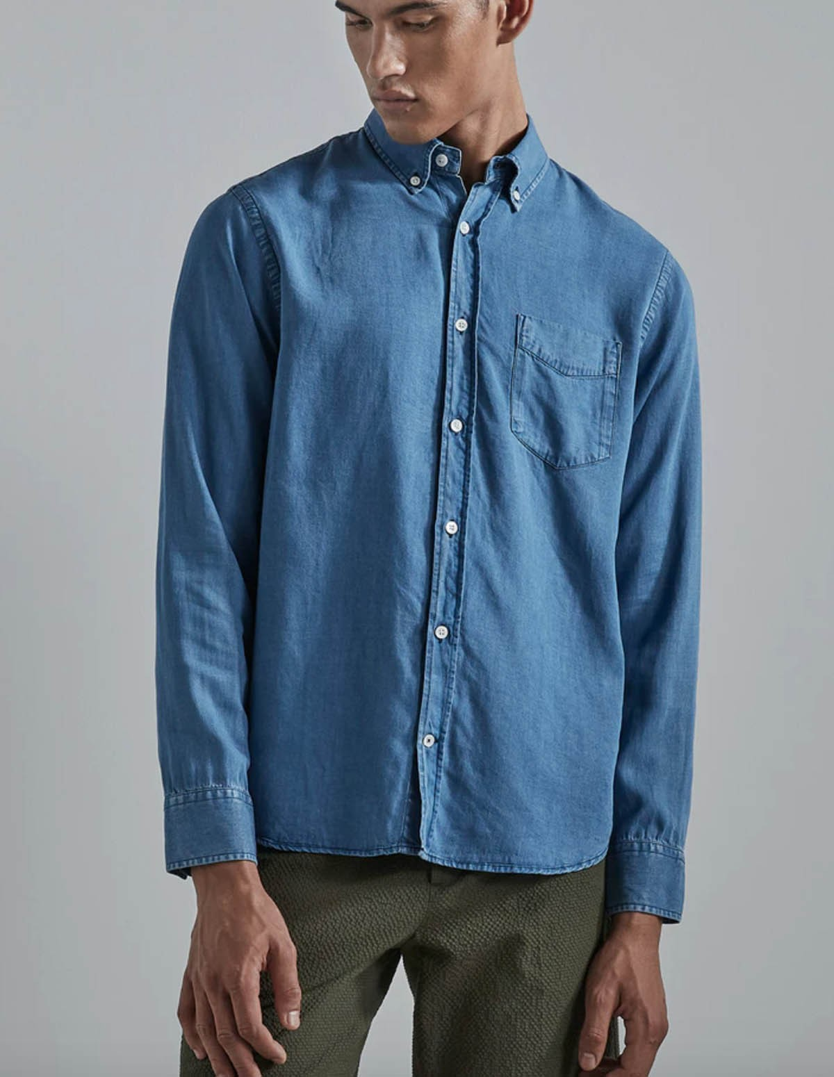 Nn07 Levon Shirt Tencel - LIGHT BLUE 240