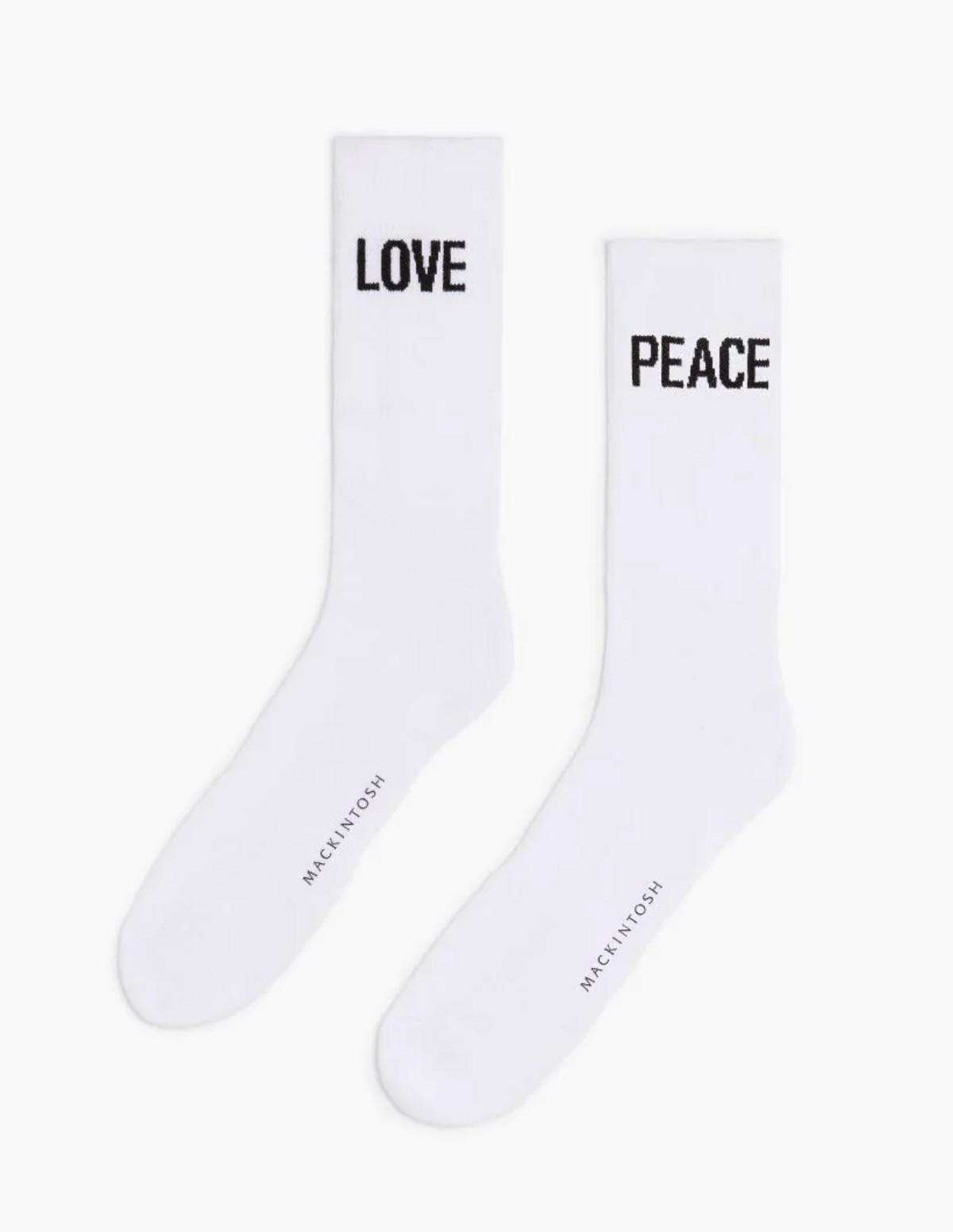 Mac 2-pack Peace X Love Socks - WHITE