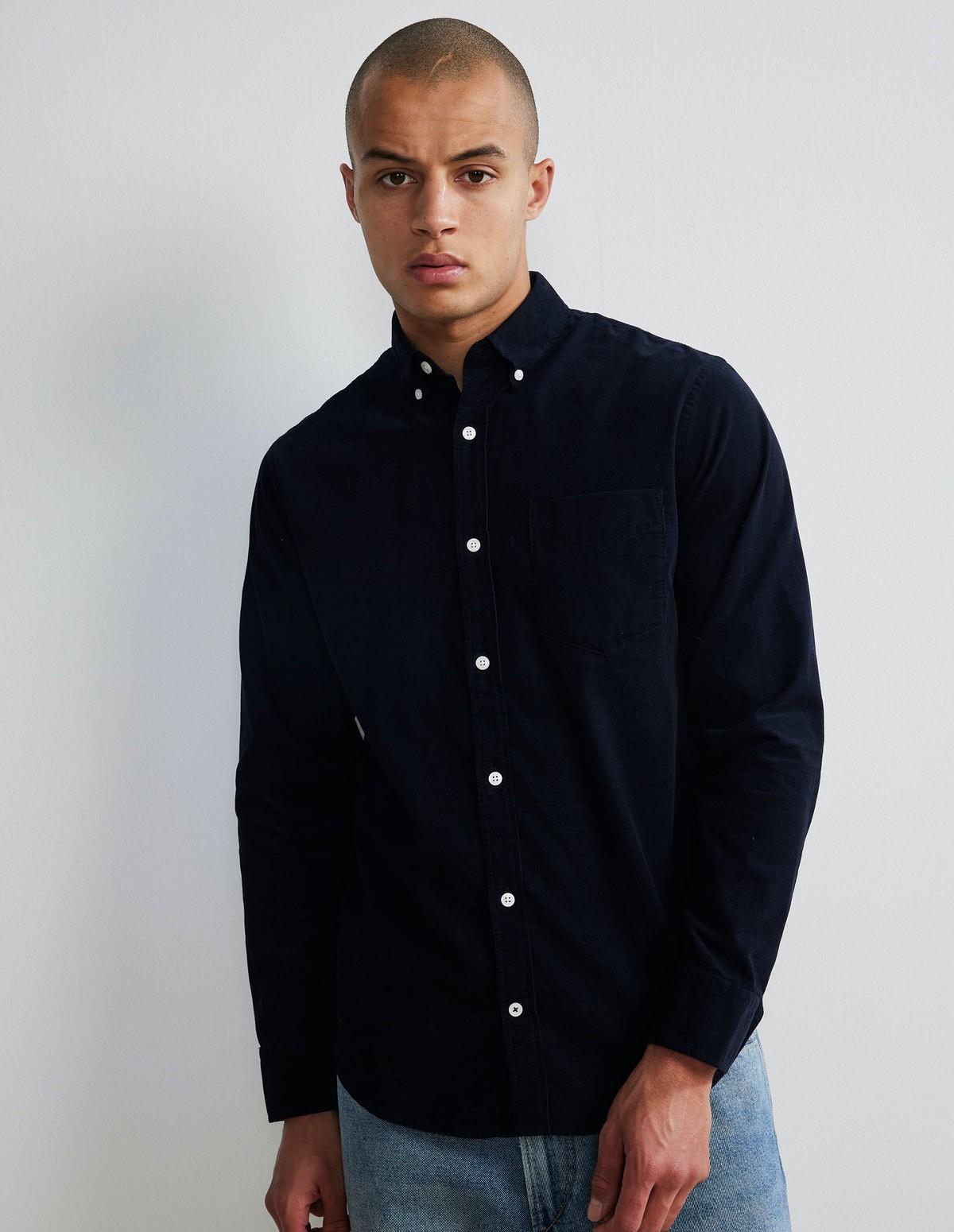 Nn07 Levon Corduroy Shirt - 200 NAVY