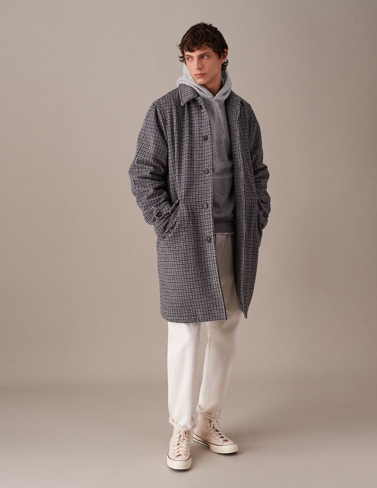 Valstar Wool Padded Overcoat - GREY HOUNDSTOOTH