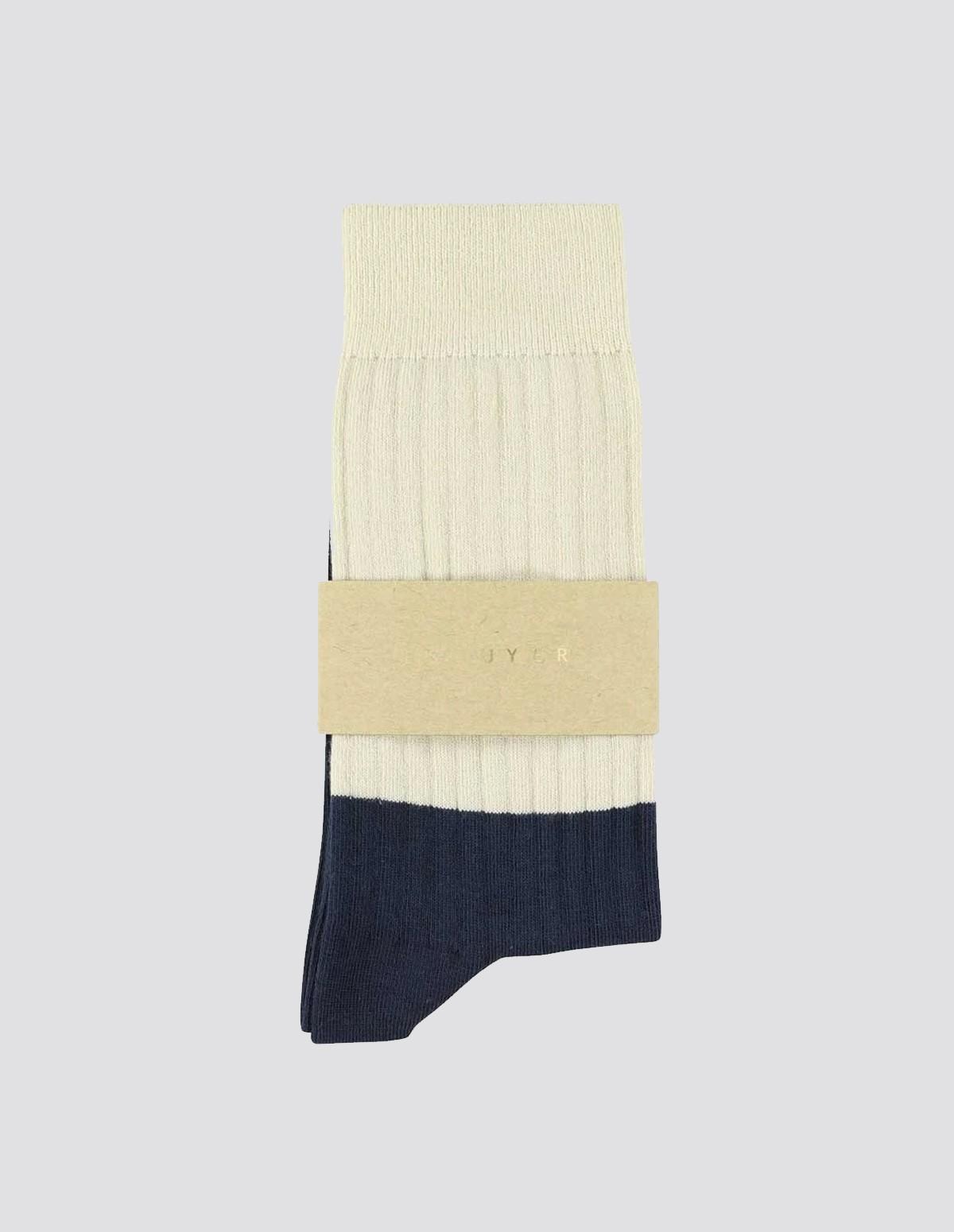 Escuyer Colour Block Socks - ECRU/NAVY