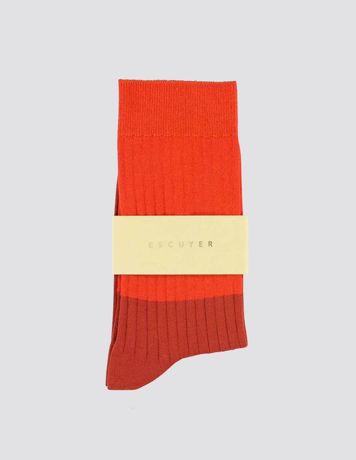 Escuyer Colour Block Socks - ORANGEADE/CHILLI OIL