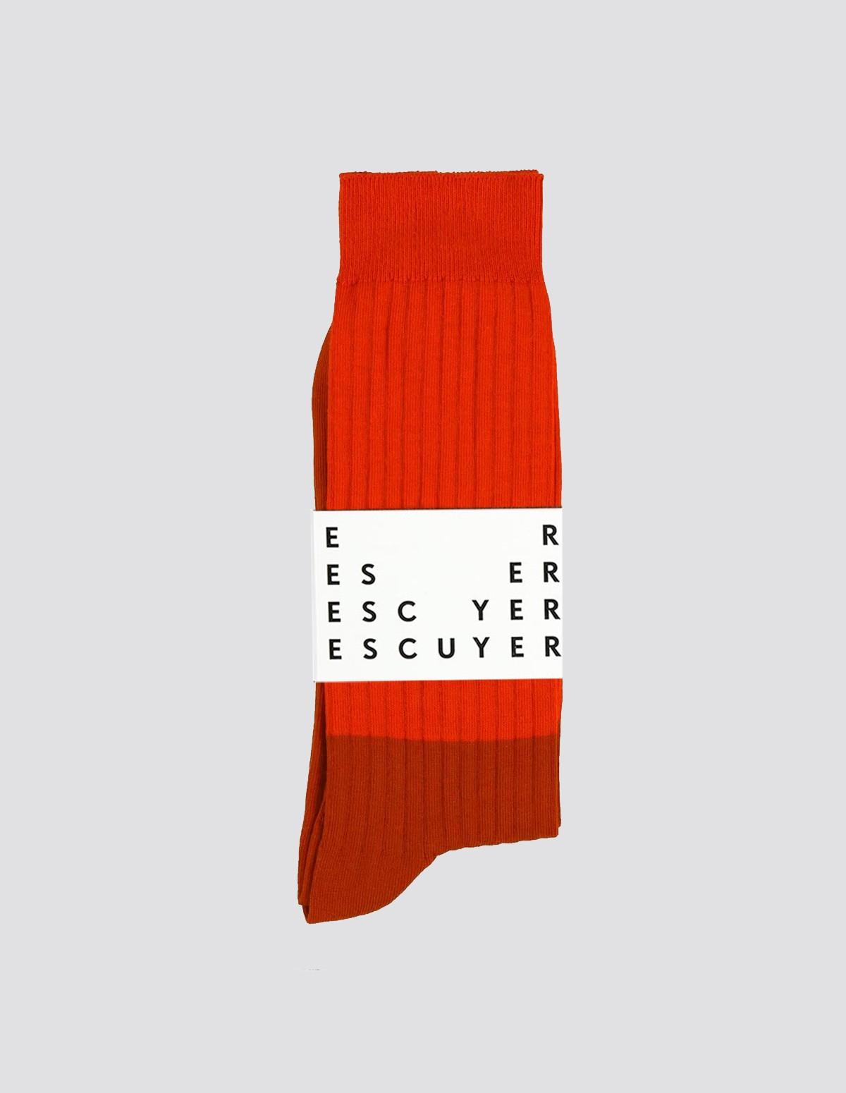 Escuyer Colour Block Socks - MOLTENLAVA/GOLDFLAME