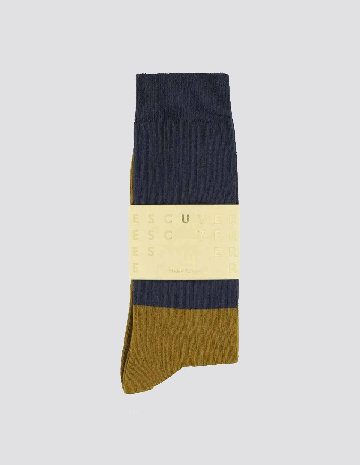 Escuyer Colour Block Socks - NAVY/CUMIN