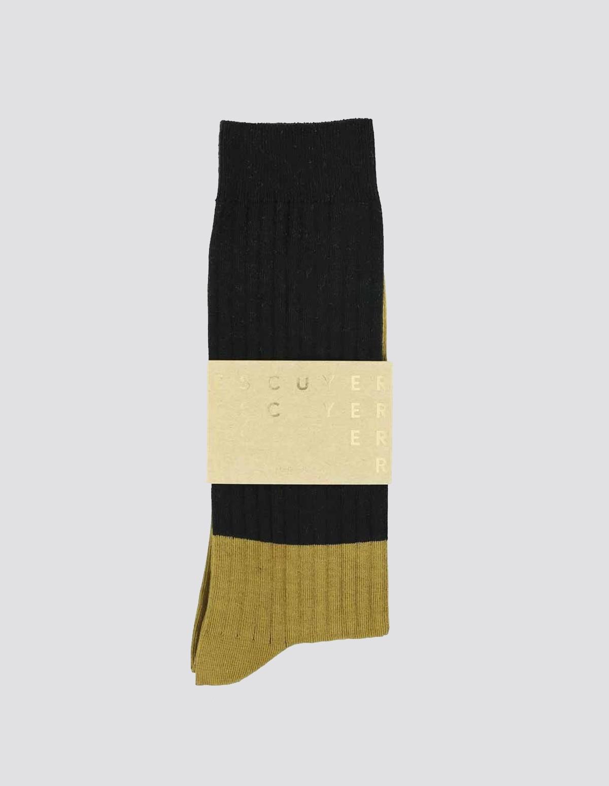 Escuyer Colour Block Socks - BLACK/BRONZE