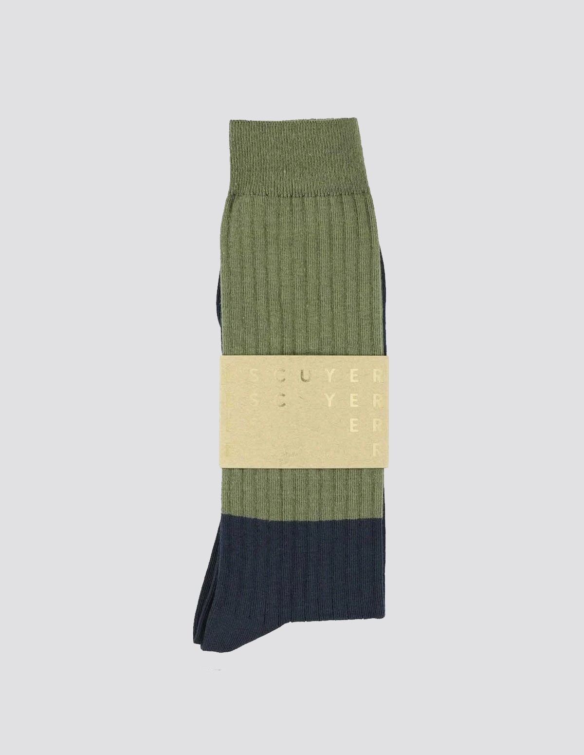 Escuyer Colour Block Socks - OLIVE/INDIGO
