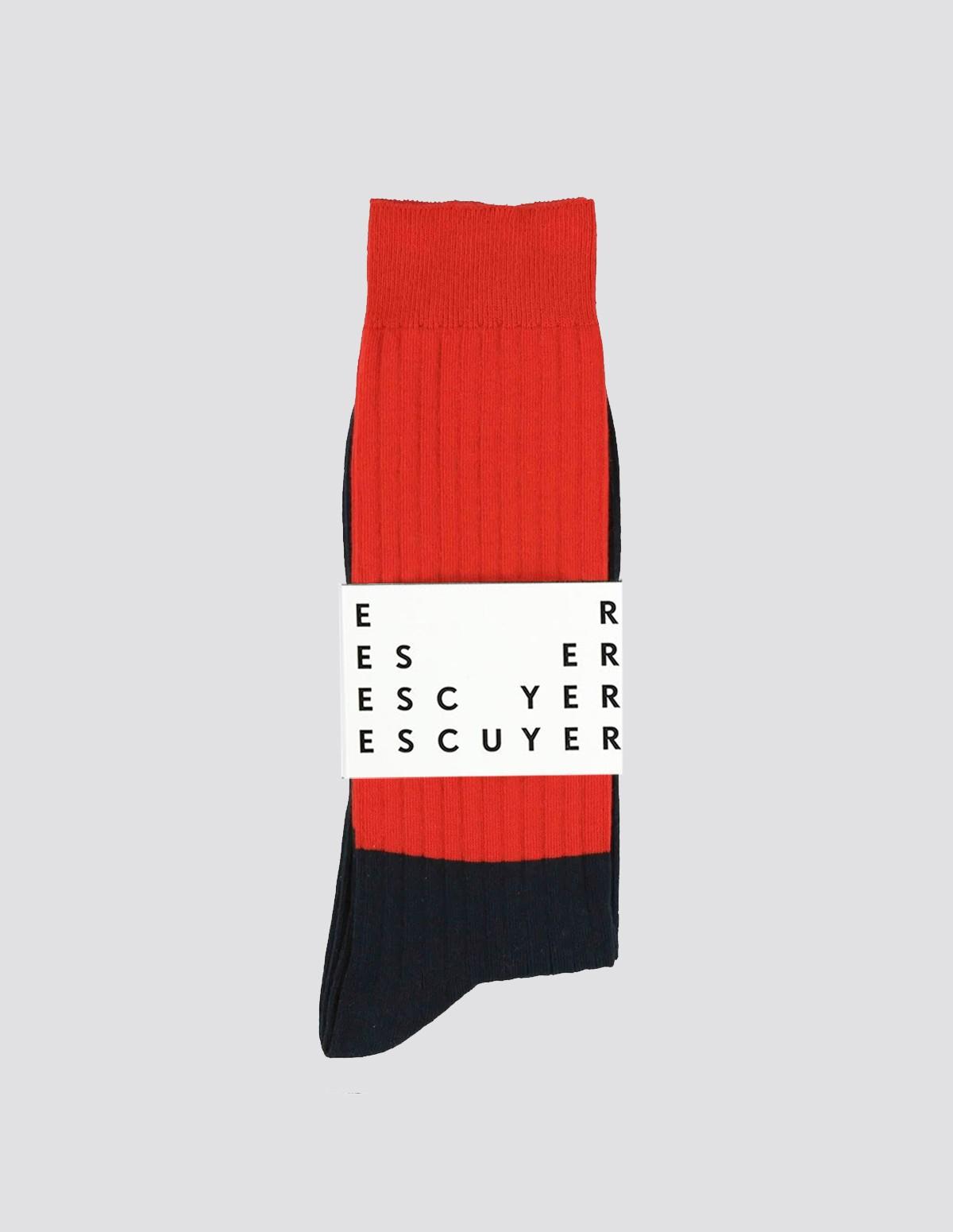 Escuyer Colour Block Socks - MOLTENLAVA/DEEPWELL