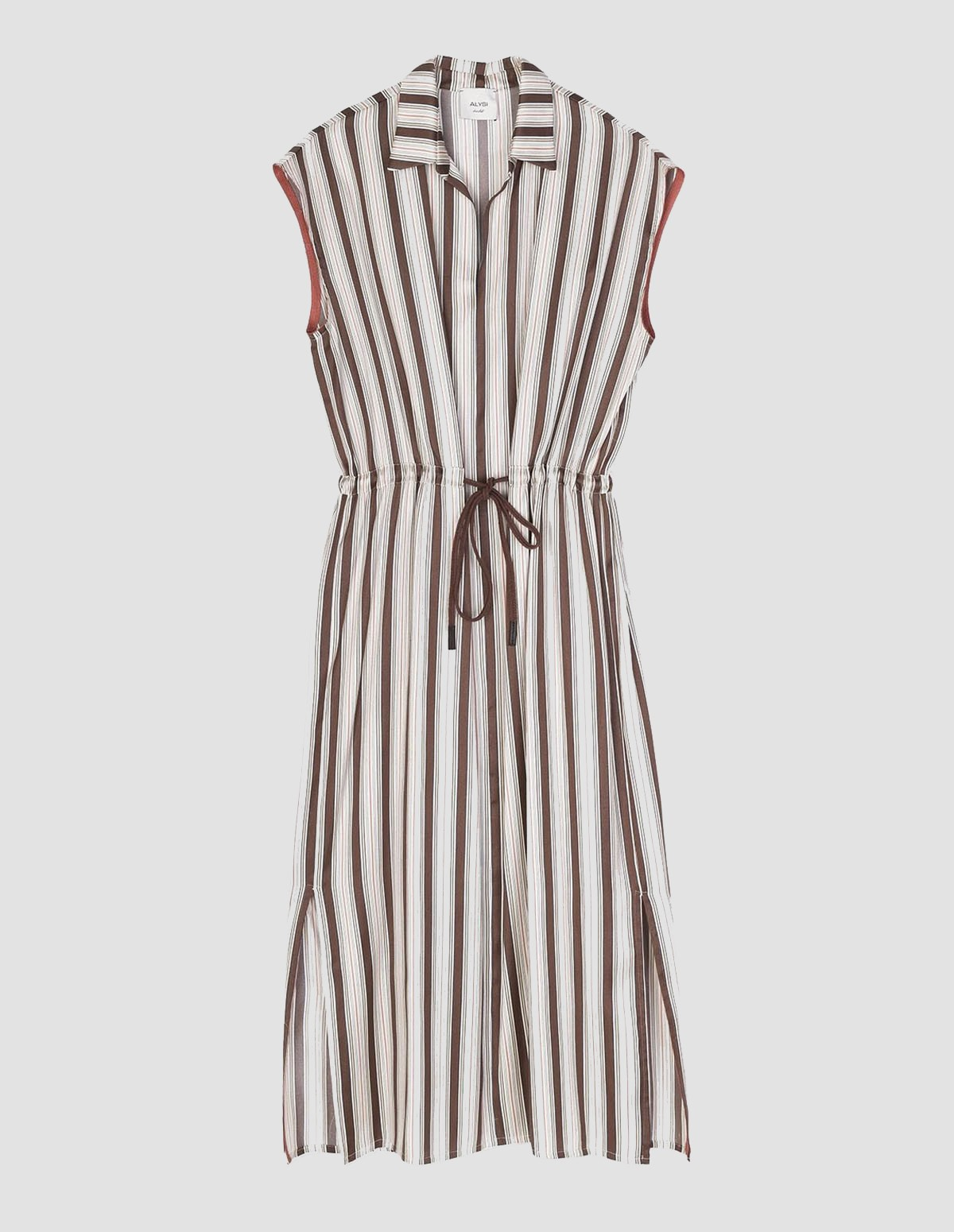 Alysi Satin Multistripes Dress - CHOCO